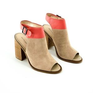 Kelsi Dagger Milton Tan & Coral Block Heel Sandals